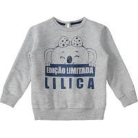 Blusa Bebê Lilica Ripilica Feminina - Feminino-Cinza