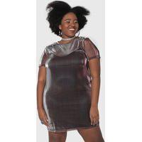 Vestido Forever 21 Plus Curto Metalizado Roxo/Prata