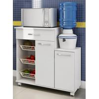 Balcão De Cozinha Casamia 199 Multiuso 2 Portas 1 Gaveta Branco