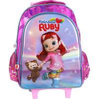Mochila Infantil Escolar Pacific De Rodinhas Rainbow Ruby Pacific-981D01 - Feminino-Rosa