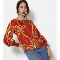 Blusa Com Franzidos - Vermelha & Amarela - Estilo Hestilo H
