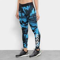 Calça Legging Adidas Aop Tight Feminina - Feminino-Azul+Preto
