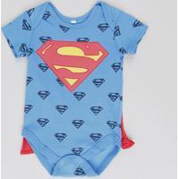 Body Infantil Super Homem Estampado Com Capa Removível Manga Curta Gola Careca Azul Royal