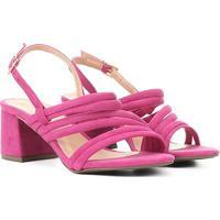 Sandália Griffe Salto Baixo Tiras Suede Feminina - Feminino-Pink