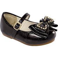 Sapato Boneca Em Couro Com Laã§Os & Pedrarias- Pretaprints Kids