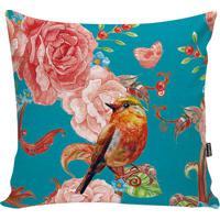 Capa De Almofada Floral- Azul & Rosa- 42X42Cm- Sstm Home