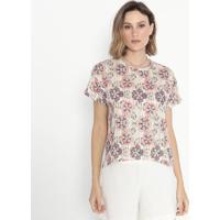 Blusa Listrada Floral- Verde & Laranja- Cotton Colorcotton Colors Extra