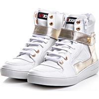 Sneaker Rock Fit Cano Alto Branco E Dourado