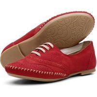 Sapato Oxford Feminino Casual Em Couro Q&A Calçados Vermelho