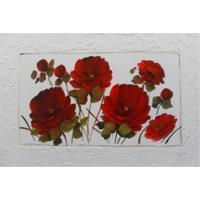 Quadro Artesanal Com Textura Rosas Vermelho I 70X100 Uniart