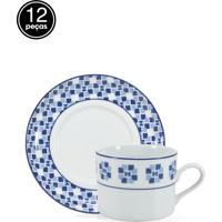 Conjunto 12Pçs De Xícaras De Chá Schmidt Porcelana Athena Branco/Azul
