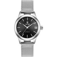 Relógio Tevise 9017 Masculino Automático Pulseira De Aço - Branco E Preto