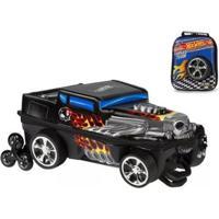 Kit Mochila Hot Wheels Bone Shaker 3D Com Rodinhas+ Lancheira Maxtoy - Unissex-Preto