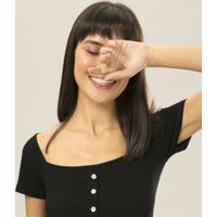 Blusa Cropped Botões Preto Reativo - Lez A Lez