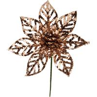 Flor Natalina Artificial Decorativa Vazada Rose Gold 20Cm