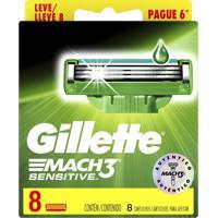 Lâminas Para Aparelho De Barbear Gillette Mach3 Sensitive 8 Unidades