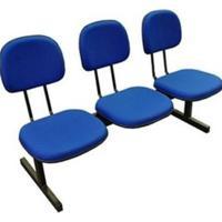 Longarina Pethiflex Mq09 Secretária 3 Lugares Tecido Azul