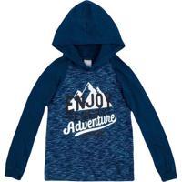 "Camiseta ""Enjoy Every Adventure""- Azul & Branca- Prihering"