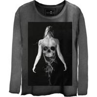 Camiseta Estonada Manga Longa Skull Ghost