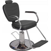 Poltrona Cadeira Barbeiro Reclinável Hidráulica Preta Dompel