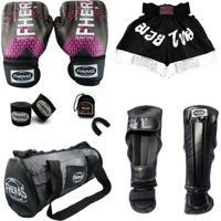 Kit Muay Thai Top Luva Bandagem Bucal Caneleira Shorts Bolsa 14 Oz Iron Rosa Fheras Preto