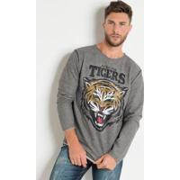 Casaco Actual Moletinho Mesclado Estampa Tigers