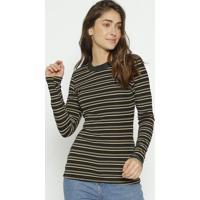 Blusa Texturizada & Listrada - Preta & Bege - Colccicolcci