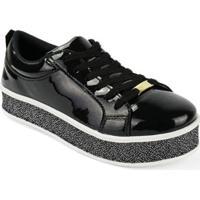 Tênis Sapatênis Flatform Corda Sola Alta Plataforma Cr Shoes Feminino - Feminino-Preto+Chumbo