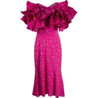 Rotate Vestido Midi Com Detalhe De Babados - Rosa