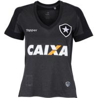 Camisa Do Botafogo Ii 2017 Topper Com Patrocínio - Feminina - Cinza/Preto