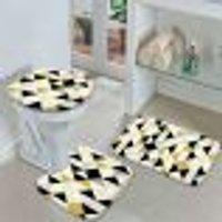 Jogo Tapetes Para Banheiro Multi Triângulos Amarelo Único