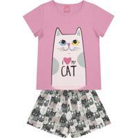 """Pijama """"Cat""""- Rosa Claro & Cinza- Primeiro Passoskamylu'S"""