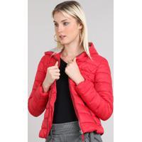 b53772fc6 CEA; Jaqueta Feminina Puffer Com Capuz Vermelha