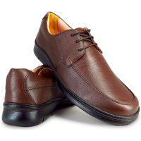 Sapato Conforto Masculino Com Cadarço Couro Me501 Marrom