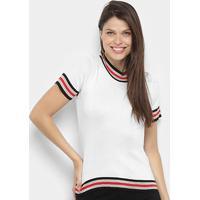 Blusa Ms Fashion Tricot Color Block Feminina - Feminino-Branco