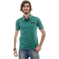 Camisa Polo Gnose Gola Com Bolso Embutido Verde