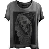 Camiseta Skull Lab Corte A Fio Cinza