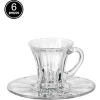 Conjunto De Xícaras 6Pçs Bohemia Chá Com Pires Cristal Welington Cinza