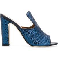 Paris Texas Sapato Mule De Couro - Azul