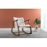 Cadeira Balanço Smith 65X83X72Cm - Verniz Capuccino \ Tec.003 - Linen Soft Off White
