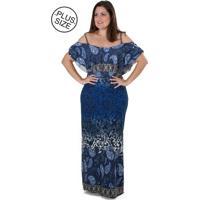 Vestido Estilo Fino Moda Multi Formas Azul