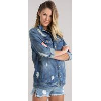 Jaqueta Jeans Destroyed Com Bordado Azul Médio
