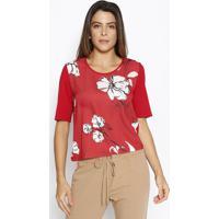 Blusa Com Recorte - Vermelha & Preta - Sommersommer