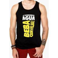 Camiseta Regata Criativa Urbana Frases Engraçadas Cerveja - Masculino-Preto