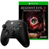Controle Microsoft Xbox, Sem Fio, Preto - Qat-00007 + Game Resident Evil: Revelations 2
