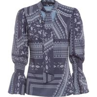 Blusa Feminina Laço Estampa - Azul