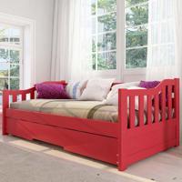 Cama Infantil Bicama American Em Madeira Maciça 1004 Vermelho - Arbol Movelaria