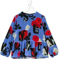 Msgm Kids Blusa Peplum Floral - Azul