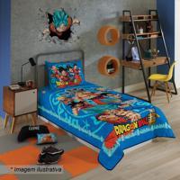 Colcha Dragon Ballâ® De Solteiro- Azul & Laranja- 150Lepper
