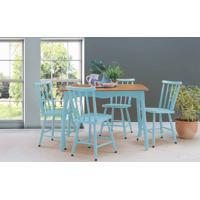 Conjunto De Mesa De Jantar Com 4 Cadeiras Mimo 110Cm Verniz Jatobá E Laca Azul Bebê